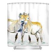 Tan Horses Shower Curtain