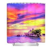 Tanah Lot Temple Sunset Bali Shower Curtain