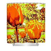Tangerine Tulips Shower Curtain
