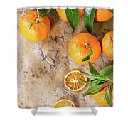 Tangerines With Leaves Shower Curtain