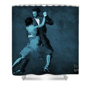 Tango In Blue Shower Curtain
