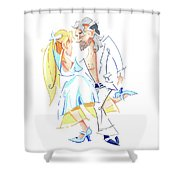 Tango Nuevo - Gancho Step - Dancing Illustration Shower Curtain