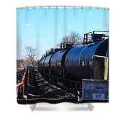 Tanker Cars Pulled By Csx Engines Shower Curtain
