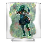 Tap Dancer 1 - Green Shower Curtain