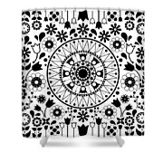 Tapiz Flores Black And White Shower Curtain