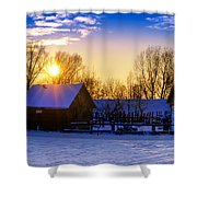 Tarchomin Sunset Shower Curtain by Tomasz Dziubinski