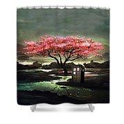 Tardis Blossom Shower Curtain