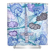 Tarot Of The Younger Self Ace Of Swords Shower Curtain