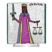 Tarot Of The Younger Self Justice Shower Curtain