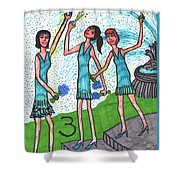 Tarot Of The Younger Self Three Of Cups Shower Curtain