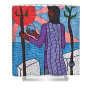 Tarot Of The Younger Self Two Of Wands Shower Curtain