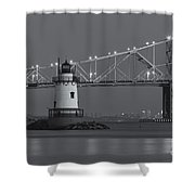 Tarrytown Lighthouse And Tappan Zee Bridge At Twilight II Shower Curtain by Clarence Holmes