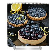 Tart With Blueberries Shower Curtain