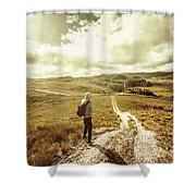 Tasmanian Man On Road In Nature Reserve Shower Curtain