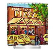 Tasty Food Pizza On Decarie Blvd Shower Curtain