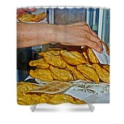 Tasty Hot Empanadas For Lunch In Angelmo Fish Market In Puerto Montt-chile Shower Curtain