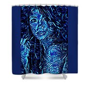 Tatto Lady With The Blues Shower Curtain