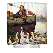 Taunting The Geese Shower Curtain