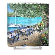 Taverna On Crete  Shower Curtain
