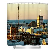 Tavira Tower And Post Office From West Tower Cadiz Spain Shower Curtain