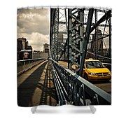 Taxi Crossing Smithfield Street Bridge Pittsburgh Pennsylvania Shower Curtain