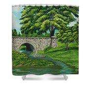 Taylor Lake Stone Bridge Shower Curtain