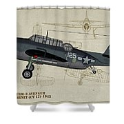Tbm-3 Avenger Profile Art Shower Curtain