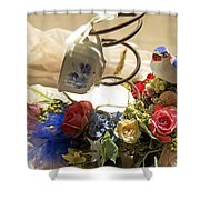 Tea Cup Bed Coil Floral Shower Curtain
