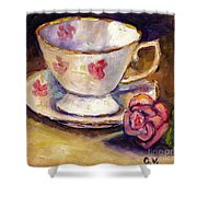 Tea Cup With Rose Still Life Grace Venditti Montreal Art Shower Curtain