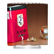 Tea Drinking In A Family Little People Big World Shower Curtain