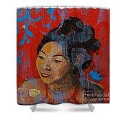 Tea Girl Shower Curtain