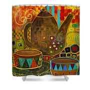 Tea Party With Klimt Shower Curtain