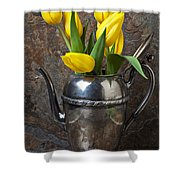 Tea Pot And Tulips Shower Curtain