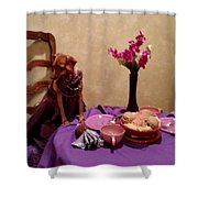 Teagun Rose French Cafe 3 Shower Curtain