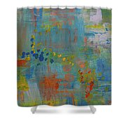 Teal Abstract, A New Look Again Shower Curtain