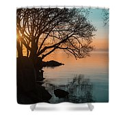 Teal And Orange Morning Tranquility With Rocks And Willows Shower Curtain