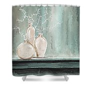 Teal And White Art Shower Curtain