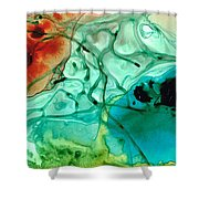 Teal Aqua Art - Connected - Sharon Cummings Shower Curtain