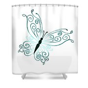 Teal Butterfly Shower Curtain