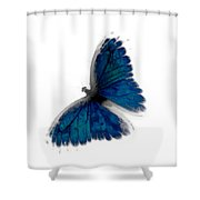 Butterfly Blur In Teal Blues Shower Curtain