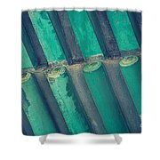 Teal Chinese Ceiling Shower Curtain