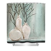 Teal Elegance - Teal And Gray Art Shower Curtain