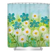 Teal Flowers And Daisies Shower Curtain