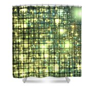 Teal Gold Cubes Shower Curtain