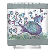Teal Hearted Peacock Watercolor Shower Curtain