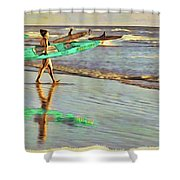 Teal Reflections Shower Curtain