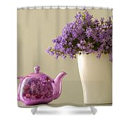 Teapot And Flowers In A Vase Shower Curtain