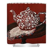 Teapot Calico Red Shower Curtain