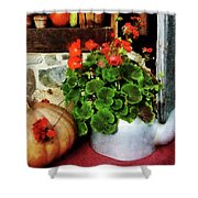 Teapot Filled With Geraniums Shower Curtain