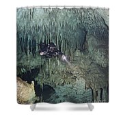 Technical Diver In Cave System, Mexico Shower Curtain